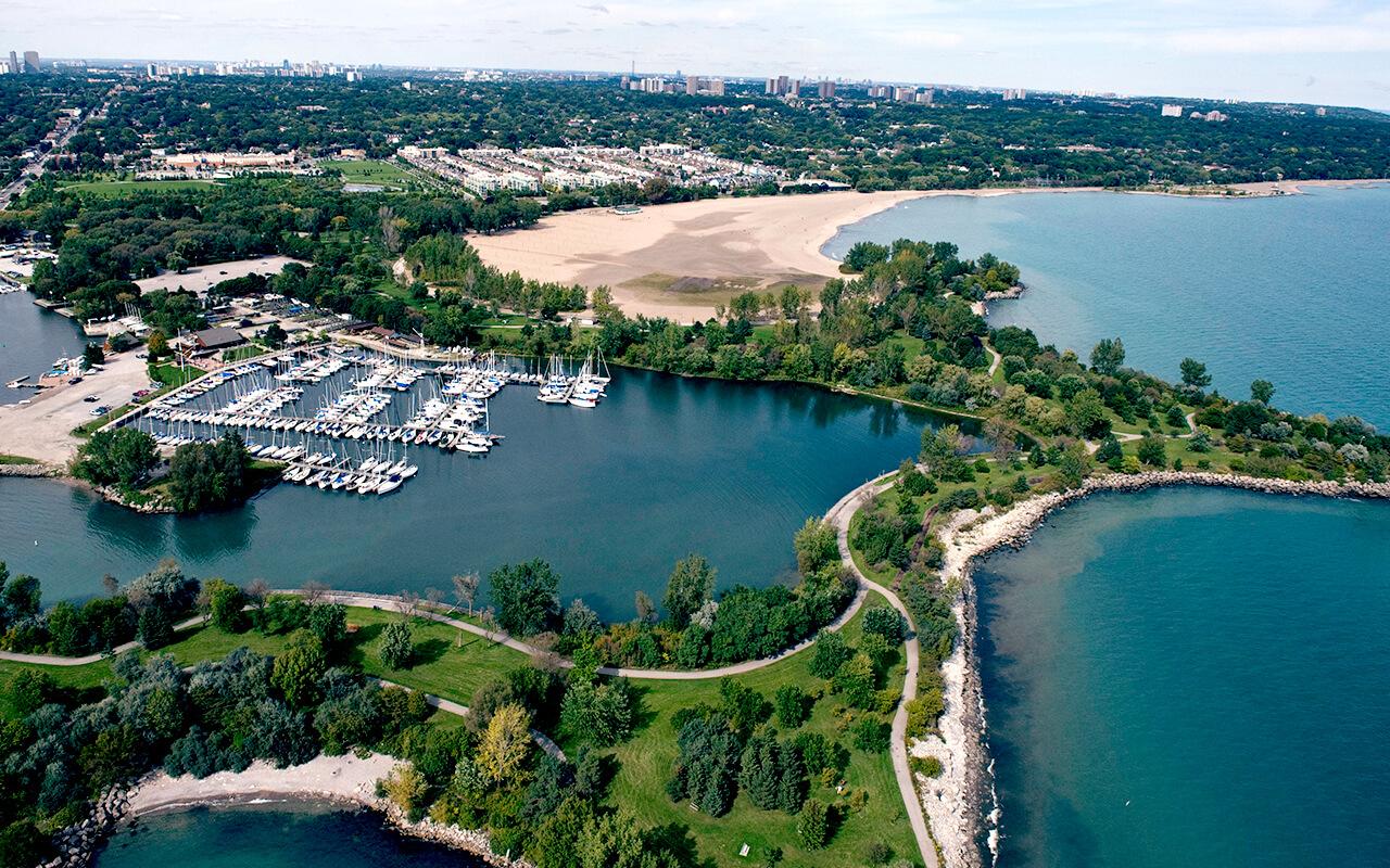 Aerial view of Ashbridges Bay Park
