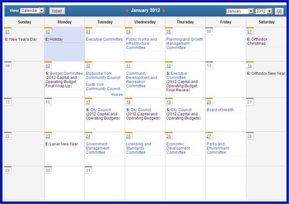 TMMIS Toronto Meeting Management Information System – Meeting Schedule