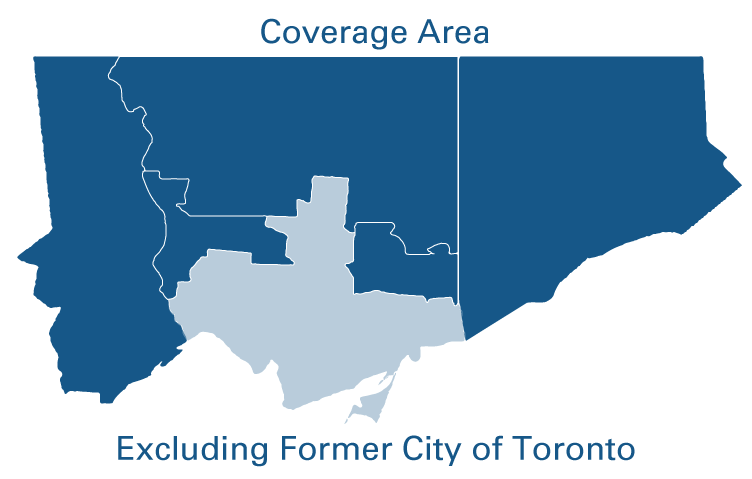 blue map of city uitlties that excludes metro Toronto