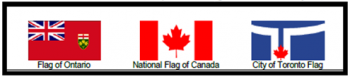 Figure 3 b displays a Canadian flag, a provincial flag and flag of a municipality