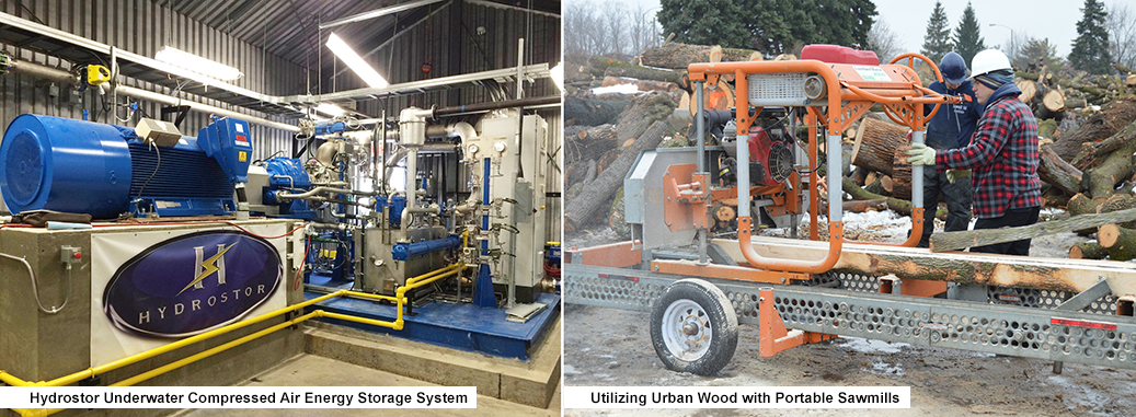 Images of 1) a Hydrostor Underwater Compressed Air Energy Storage System 2) a portable sawmill that is utilizing urban wood