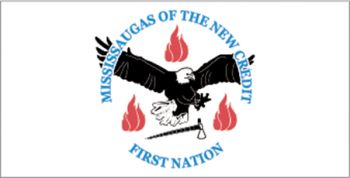 Flag including symbols of Mississaugas of the New Credit First Nation