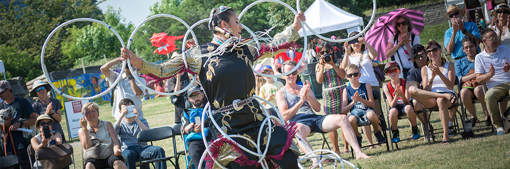 Lisa Odjig of the Ojibwe Nation, two time world champion Hoop Dancer, performs at the 2016 Indigenous Arts Festival