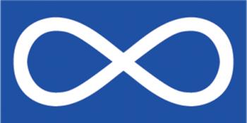 Flag with symbols of Métis Nation