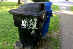 Graffiti on a street litter bin maintained by the City