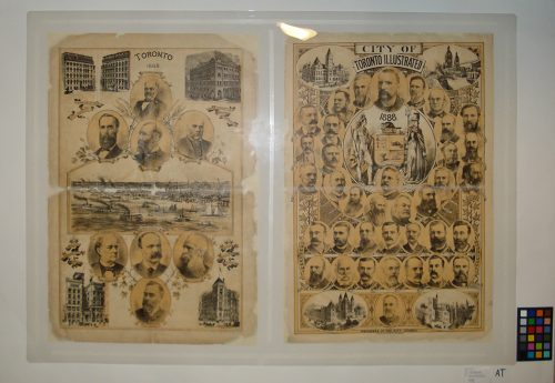 Torn front and back cover of Toronto Illustrated, 1888, have been patched with Japanese paper, and show engravings of men, tall buildings, and sailboats and steamships on Toronto Bay.