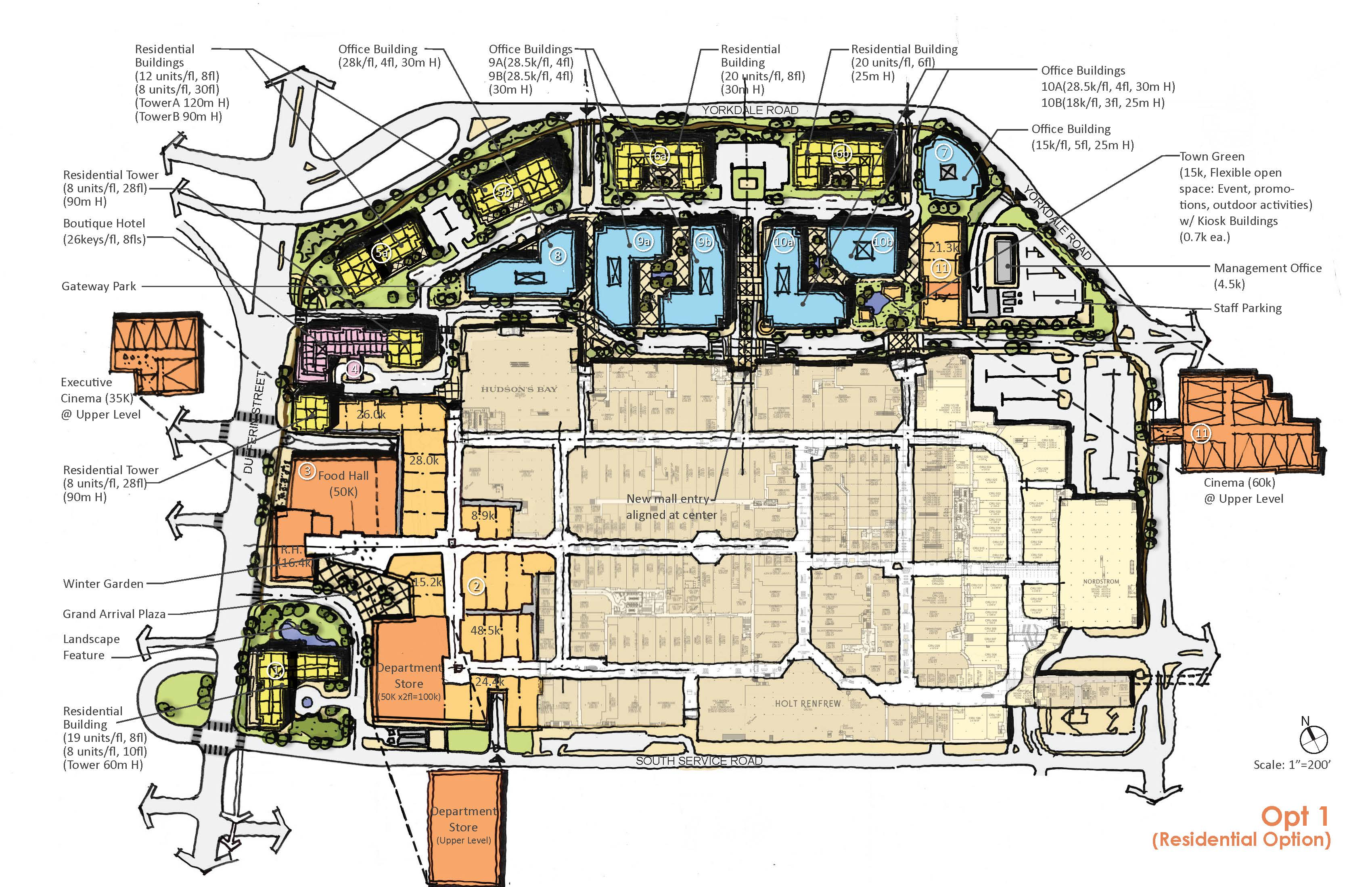 plan showing option one of the development proposal for Yorkdale Block, showing retail, hotel, office and residential spaces