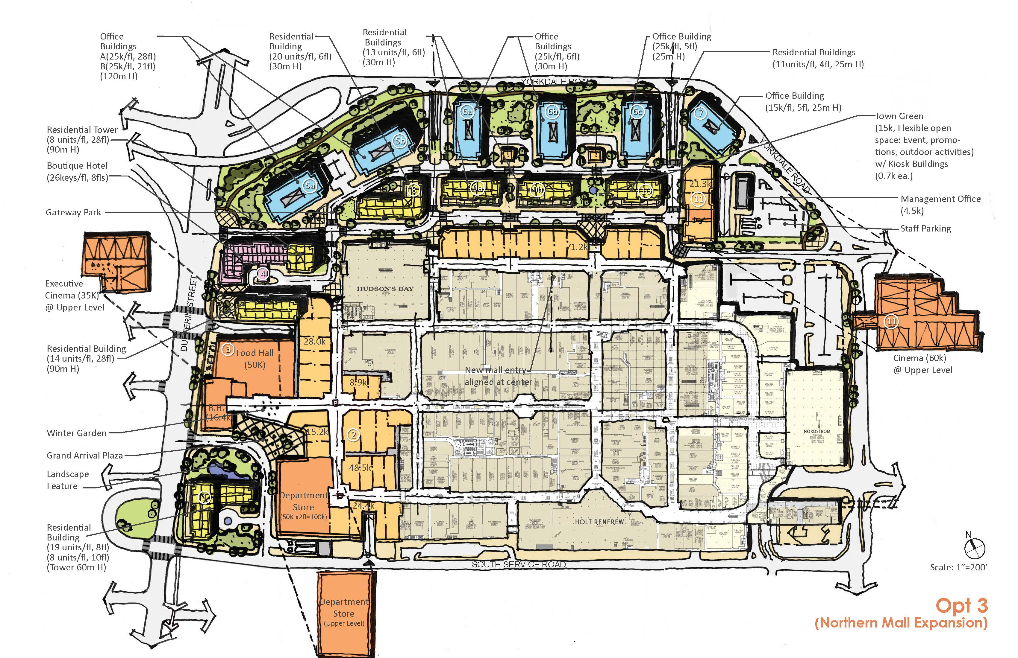 plan showing option three of the development proposal for Yorkdale Block, showing retail, hotel, office and residential spaces