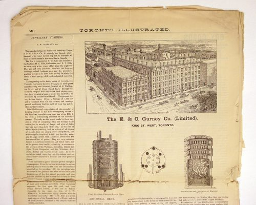 Torn page from Toronto Illustrated, 1888 shows engraving of Gurney Co.'s large brick factory on King Street West.