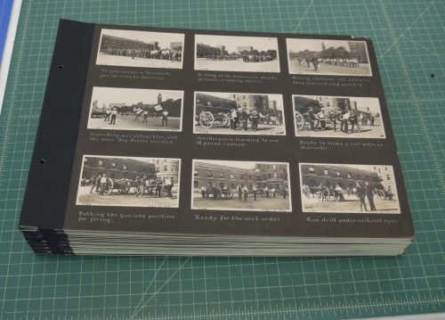 The completed album pages ready to be attached to the album covers.