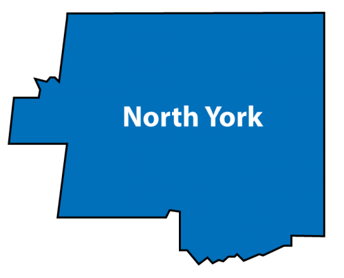 Shows the boundaries of the region of North York