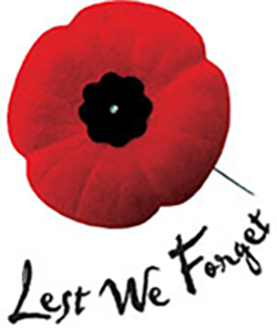 Remembrance Day poppy - Lest We Forget