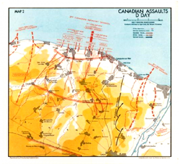 This is a map of where the Canadian troops landed and fought during D-Day.