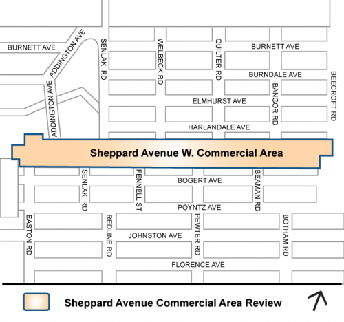 Map showing the study area along Sheppard Avenue West between Easton Road and Beecroft Road