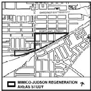Mimico-Judson Regeneration Area outlined on a map