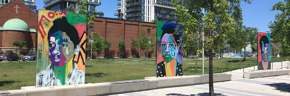 Tom Bergeron's artwork Faces of Regent Park on public display.