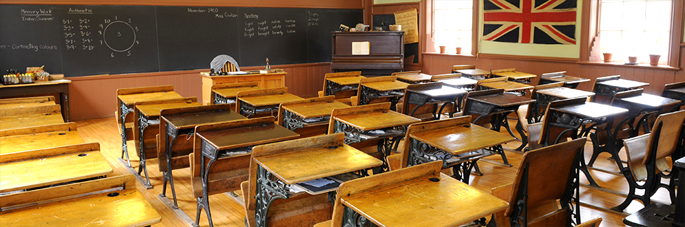 Interior view of the class room at the Zion Schoolhouse.