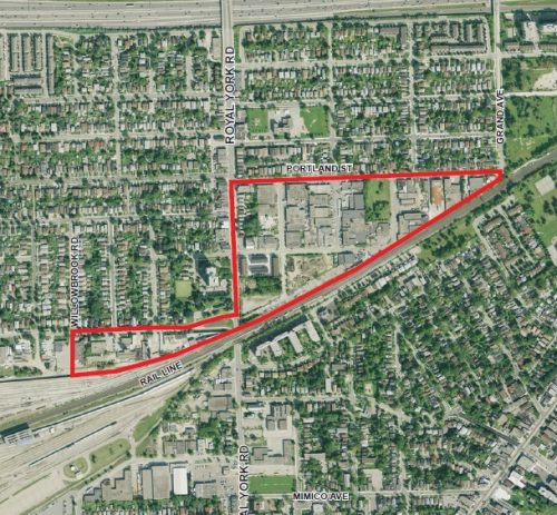 birds' eye view map of the Mimico-Judson Study Area outlined in red around Willowbrook road, the rail line, portland street and royal york road.