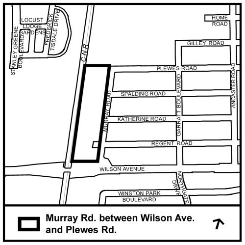 black and white map showing the Murray Road area between Wilson Avenue and Plewes Road