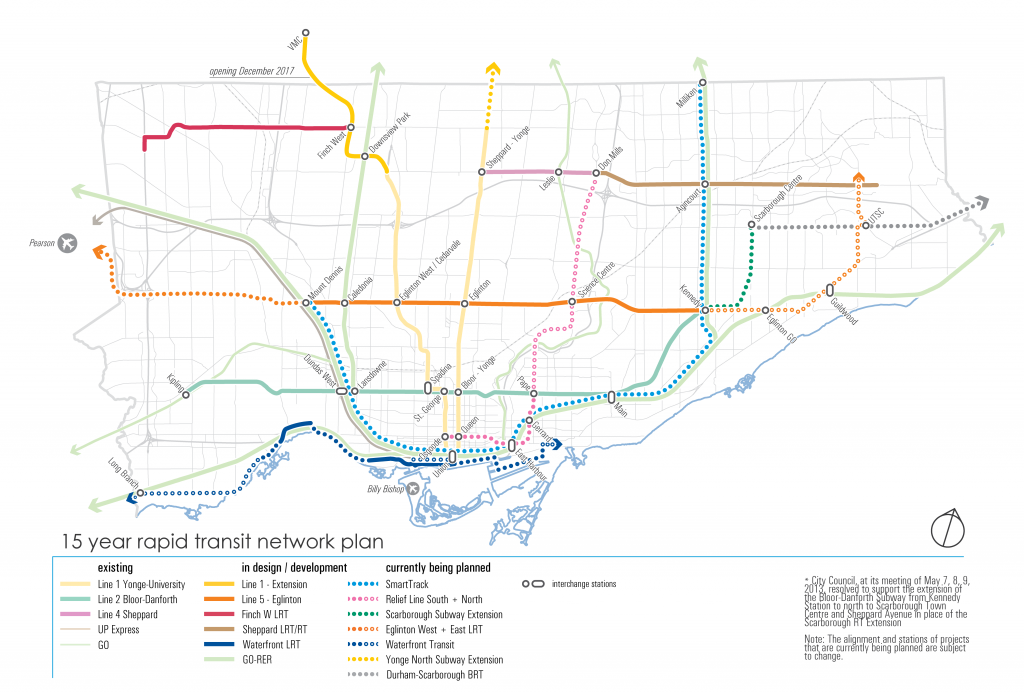 Map depicting 15 year Rapid Transit Network Plan