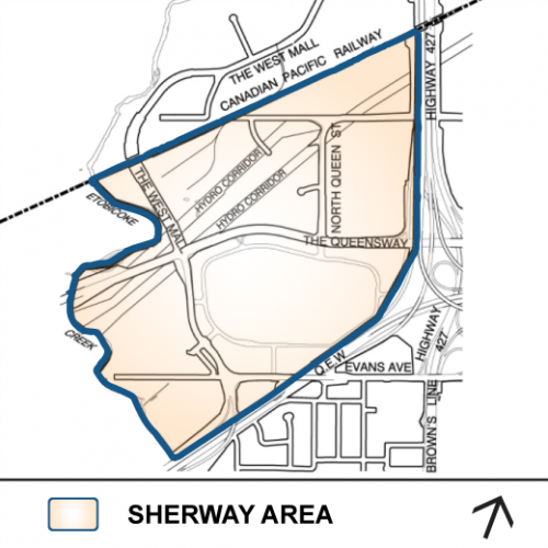 Sherway Study Area Map showing the boundaries of Highway 27, Q.E.W, Canadian Pacific Railway and Etobicoke Creek