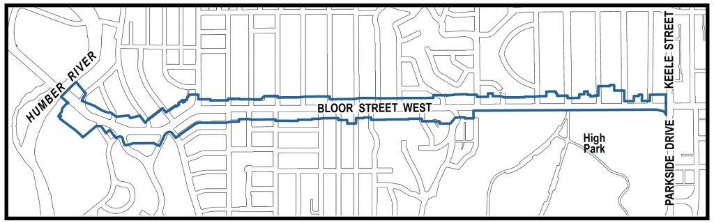 Map showing study area boundary including all properties fronting Bloor Street West from Keele Street to the Humber River
