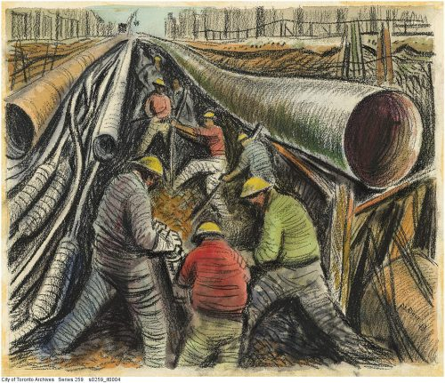Underground utilities, Yonge Street, 1950