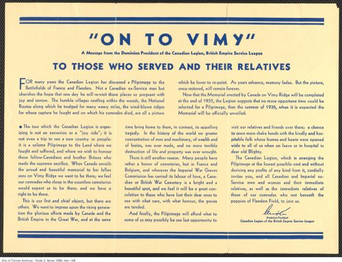 Official Piligrimage to Vimy and the Battlefields pamphlet, 1934, reverse side