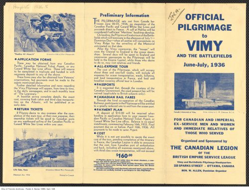 Official Piligrimage to Vimy and the Battlefields pamphlet, 1934