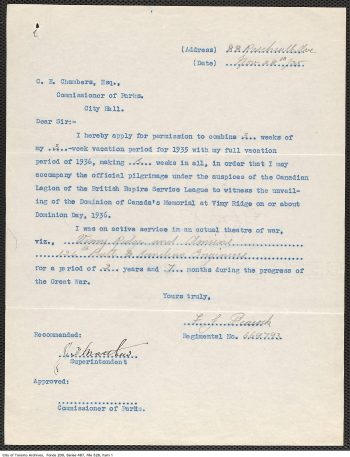 Parks Department staff vacation request for the Vimy pilgrimage, 1935