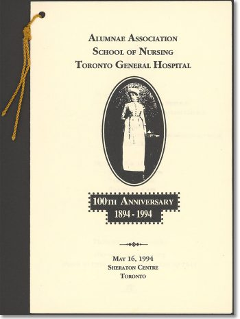 Alumnae Association, School of Nursing, Toronto General Hospital 100th Anniversary program card
