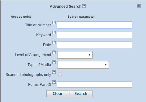 Advanced search with fields for title or number, keyword, date, level of arrangement, type of media, and forms part of.