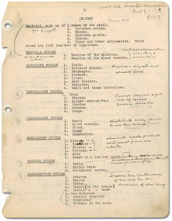 Anatomy notes taken by 1945 graduate, Lorraine Spain