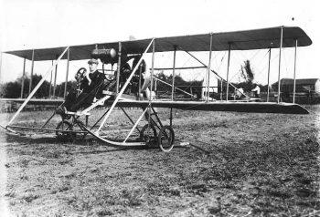 J.A.D. McCurdy in biplane, Weston 1911