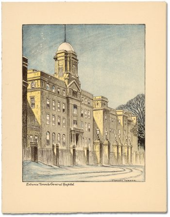 Front of Christmas Card, showing front entrance to Toronto General Hospital