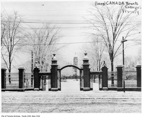 Trinity College gates, Queen Street West