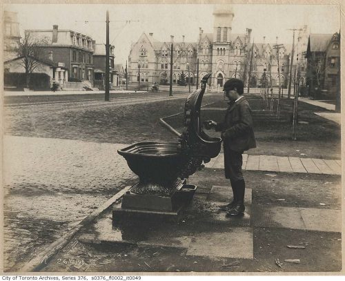 Drinking fountain at College Street and Spadina Avenue