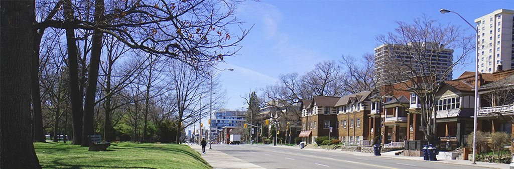 View of Bloor Street looking west along High Park