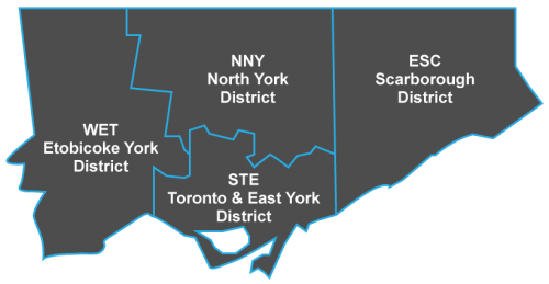 Toronto Districts map