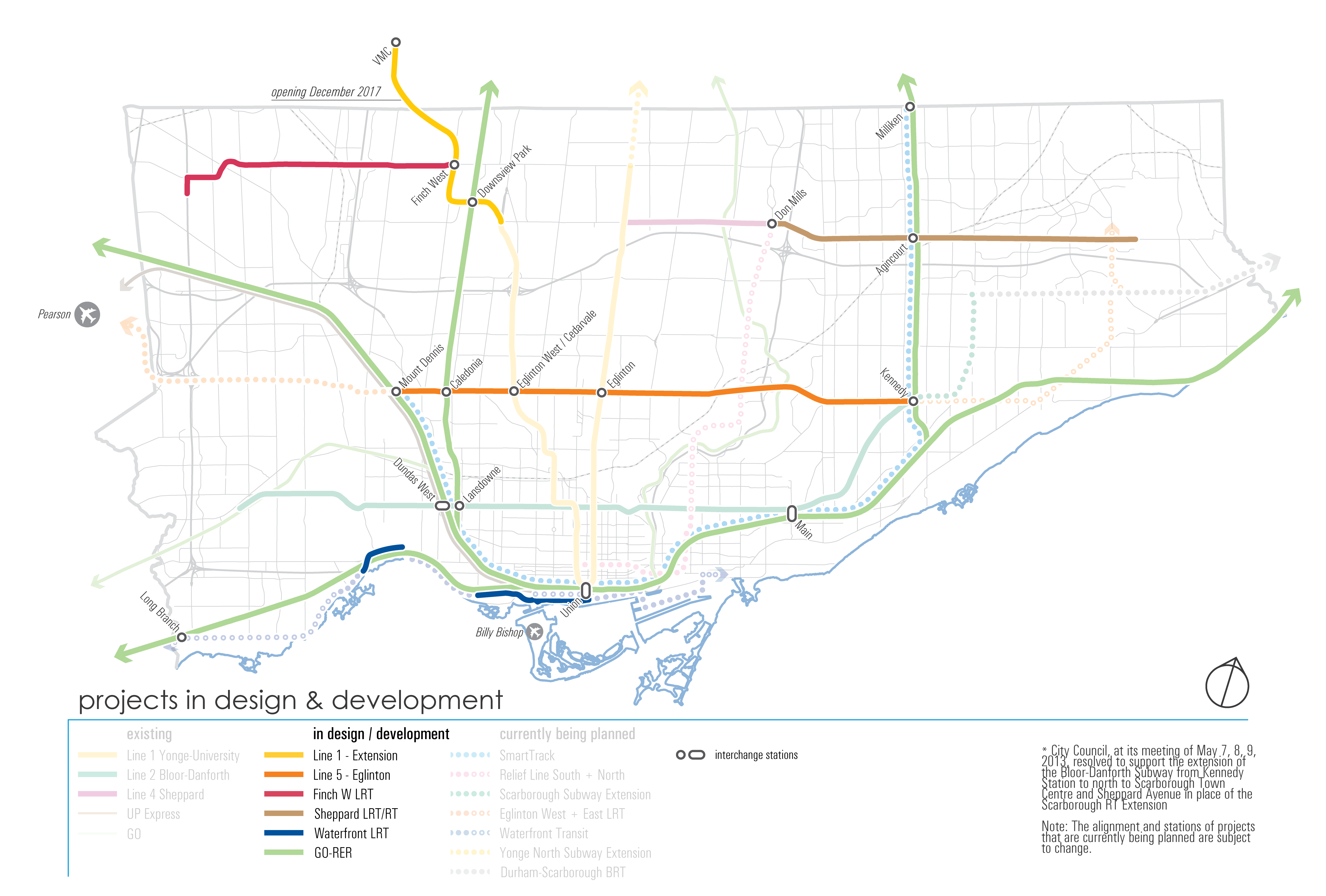 Map depicting projects in Design and Development