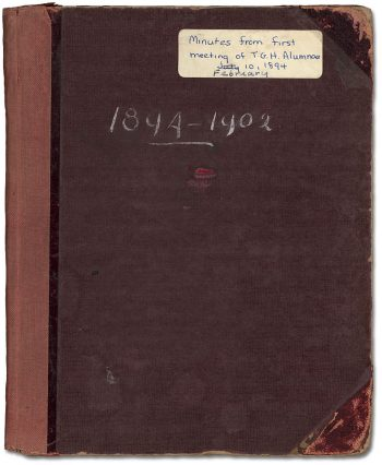 picture of cover of bound minute book of the Alumnae Assoc. of Toronto General Hospital Training School of Nurses 1894-1902