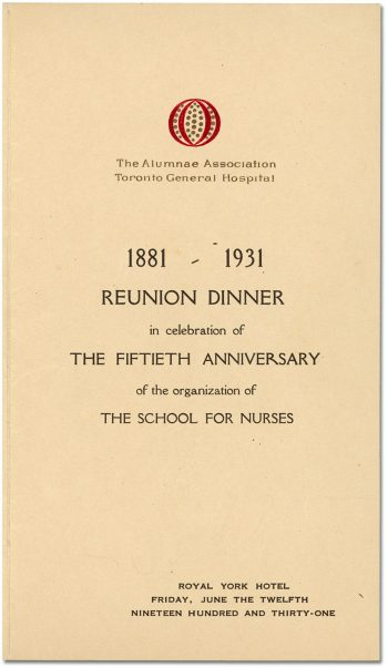 Programme for reunion dinner in celebration of the school's fiftieth anniversary
