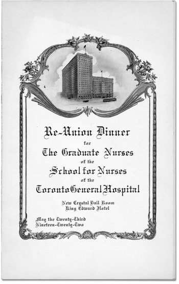 Programme for reunion dinner for graduate nurses