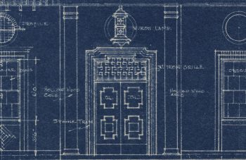 Detail of blueprint showing an ornate door.
