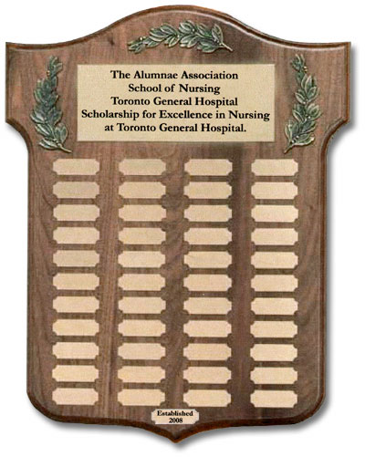 Plaque displaying the winners of the Alumnae Association