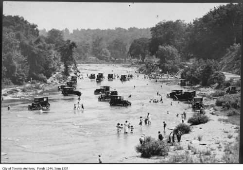 Bathers and cars in Humber River