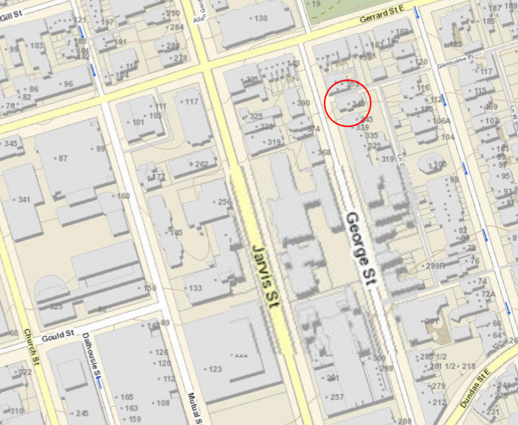 City map, 2014, showing George Street and the location of the Schoolhouse and Seaton House.