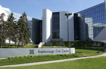 View of the south entrance of Scarborough Civic Centre