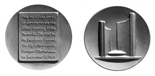 Medallion showing City Hall and text saying that it was opened by George P. Vanier on September 13, 1965