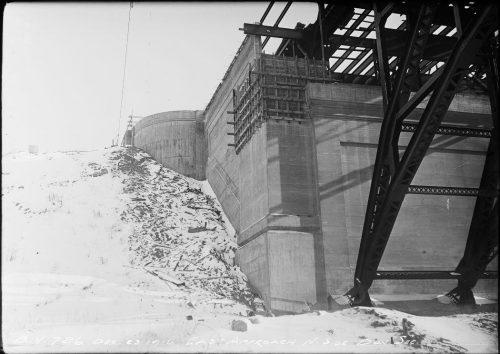 Cast iron bridge supports and concrete pier.